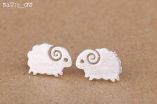FREE GIFT BAG 925 Solid Sterling Silver Cute Sheep Stud Earrings Birthday Xmas