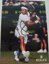 Roger Federer 4X6 SIGNED  ROLEX PHOTO CARD AUTOGRAPH  ORIGINAL DJOKOVIC NADAL