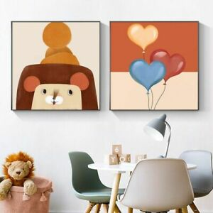 Cartoon Animal Canvas Nursery Colorful Poster Wall Picture For LivingRoom Decor