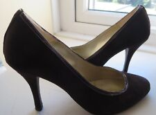 """DANIEL SUEDE LEATHER HIGH HEEL COURT SHOES SIZE 7 EUR40 BROWN 4"""" HEEL WIDER FIT"""