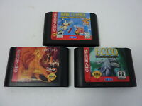 Lot of 3 - Sonic Classics The Lion King Ecco the Tides of Time (Sega Genesis)