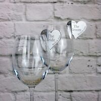 Wedding Name Place Settings Personalised Hearts for Champagne/Wine Glasses