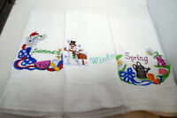 Lot 3 Terry Hand Towels Embroidered Kitchen Seasons Summer Winter Spring