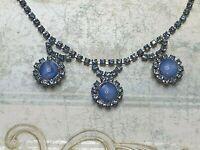 Vintage Mid Century Silver Tone Prong Set Blue Glass- Rhinestone Necklace Choker