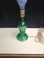 Vintage Working Green Depression Glass Electric Table Bedside Light Lamp