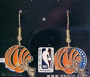 Cincinnati Bengals Helmet Logo J Hook Dangle Earrings