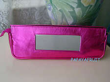 Clinique Metallic Fuchsia Pink Elongated Cosmetic Bag w Built-in Exterior Mirror