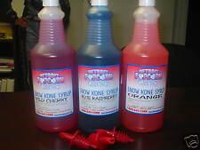 Snow Cone Syrup (3) Flavors Quarts With Pour Spouts