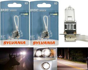 Sylvania Basic H3 55W Two Bulbs Halogen Fog Light Replace Plug Play Lamp Stock