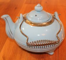 Vintage Powder Blue Teapot Kettle Gold trimmed Footed Shabby Cottage Chic Decor