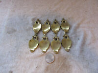 (8) VTG Furniture Drawer Drop Pulls Pendant Tear Drop Keeler Brass K7653 Leaf