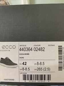 ECCO SOFT 7 MEN'S Cocoa Brown SNEAKER EU Size 42 / US 8-8.5 M (NIB) $160