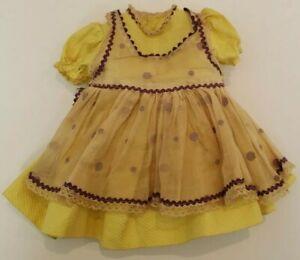 "Orig 16"" Saucy Walker Doll Yellow Dress  w/ Purple Ric Rac & Polka Dot Pinafore!"