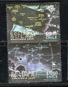 CHILE 2020 total ECLIPSE Astronomy Moon Sun MNH vertical pair