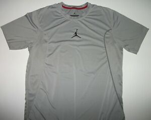 Jordan Training Fitted Dri-Fit Gray Jumpman Polyester Shirt Size Large