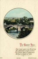 EARLY 1900's VINTAGE EMBOSSED OLD STONE BRIDGE BIRTHDAY GREETINGS POSTCARD