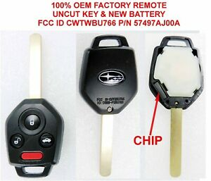 OEM SUBARU LOGO UNCUT SOLID KEY transponder CHIP keyless entry remote CWTWBU766