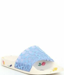 COACH Udele Sport Pool Slides Periwinkle/Chalk Floral Women's Size 9 NEW IN BOX