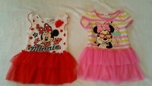 GIRLS SZ 24 MONTHS DISNEY MINNIE MOUSE DRESS LOT of 2 Pink Costume Dance