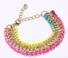 PLAYFUL ADJUSTABLE LENGTH GOLD TONE CHAIN-ROPE RAINBOW FASHION BRACELET (CL18)