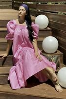 H&M Pink Midi Maxi Dress Puff Sleeve Bloggers Favourite Cotton Sold Out Uk M