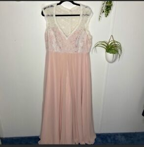 Mori Lee Madeline Gardner Blush Pink Chiffon Embroidered Princess Lace Size 22