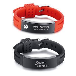 Personalized Men Women Medical Alert ID Bracelet Silicone Adjustable Waterproof