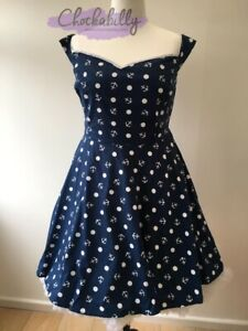 Hell Bunny Marina Mini Dress Size 22 Anchor Nautical Vintage Rockabilly
