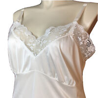 Camelot Silky White Nylon 44 Floral Lace Full Slip Dress 70s Vintage Boudoir