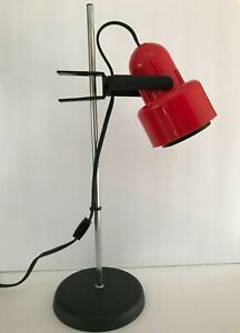 Mid Century Modern ,Red & Black and Chrome Adjustable Table/Desk Lamp,