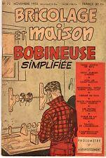 BRICOLAGE ET MAISON 72 NOVEMBRE 1955 COUVERTURE DE M.TILLIEUX
