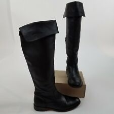 Frye Shirley OTK over the knee black leather boots 8.5 riding stacked heel cuff