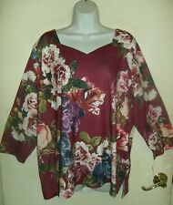 LAURA SCOTT EMBELLISHED  FLORAL PRINT 3/4-SLEEVE  PLUS SIZE TOP     SIZE 3X NWT