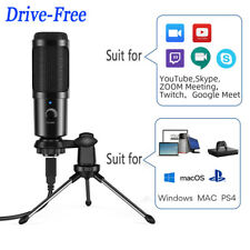More details for usb condenser studio microphone mic kit + shock mount tripod stand for pc laptop