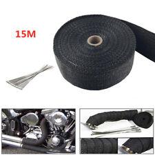 15m Titan Hitzeschutzband Auspuff Band bis1400° Schwarz Hitzeschutz Krümmer