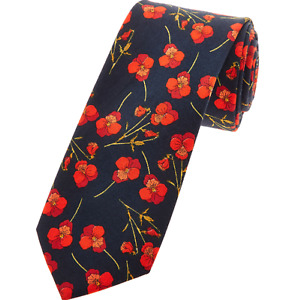 Gianni Feraud Liberty Navy & Red Floral Tie RRP £95 New & Boxed Cotton