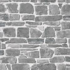 Rasch - Brick Stone Wall Effect - Grey  - Luxury Textured Wallpaper 265620