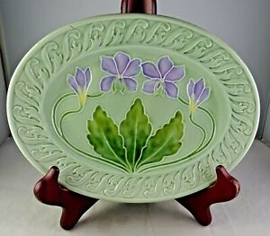 Vintage Majolica Oval Tray Purple Flowers On Green Background