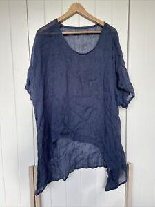 Navy Blue Linen Top Sz 8-14 Oversized Baggy Blouse T Shirt Top