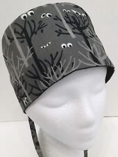 Halloween Print Lined Medical Surgery OR Skull Scrub Hat Chemo Cap