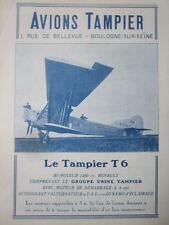 12/1926 PUB AVIONS RENE TAMPIER BOULOGNE SUR SEINE AVION T 6 MOTEUR RENAULT AD