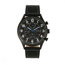 Elevon Lindbergh Men's Black Leather Band Watch with Day Date ELE102-4