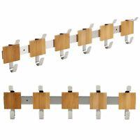 10 or 12 Wall Mounted Door Hooks Coat Rack Organiser Clothes Hanger Bamboo Wood
