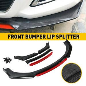 Universal Car Front Bumper Lip Spoiler Chin Splitter + Side Skirt Extension 4pcs