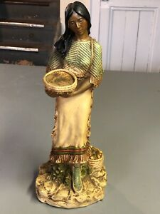 Vintage Native American Woman Sculpture/statue Standing Holding Bowl 14 Inches