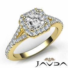 Yellow Gold Halo Pave Set Ring 1Ct Asscher Cut Diamond Engagement Gia H Vvs2 18k