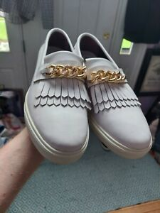NWOB Bikkembergs White Fringe Leather Gold Cuban Chain Zanotti Style Sneakers