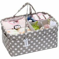 Hinwo Baby Diaper Caddy 3-Compartment Infant Nursery Tote Storage Bin Portable