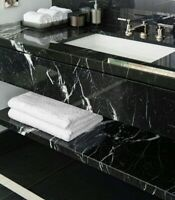 "Nero Marquina Black Marble Tile - Polished - 12""x24""x1/2"""