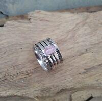 Rhodochrosite Solid 925 Sterling Silver Spinner Ring Meditation Ring Size V915